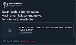 Heboh Dasar Hukum Kemenangan Jokowi Batal, Opposite6890: Sabar Pakde, Baru Test Water