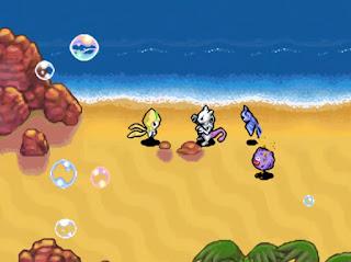 Pokemon Mundo Misterioso Legendary para NDS Jirachi y Mewtwo en la Playa