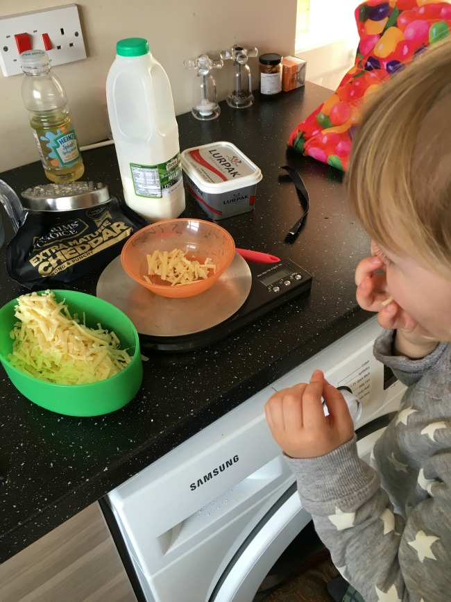 grated cheese in pot on worksurface toddler eating cheese