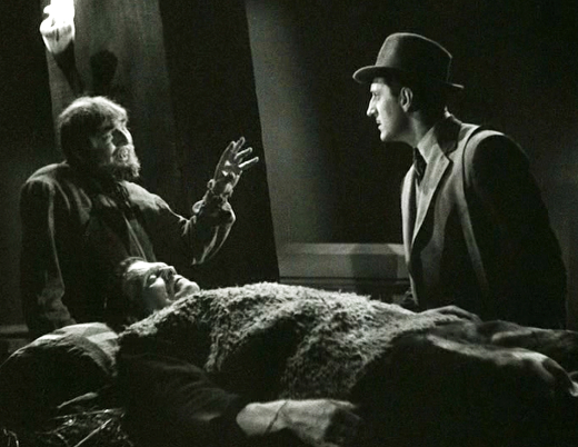 Bela Lugosi, Basil Rathbone and Boris Karloff in Son of Frankenstein (1939)