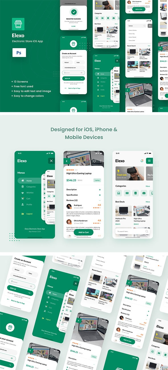 Download Electronic Store iOS App Design PSD Template