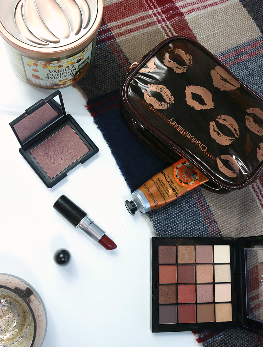 Autumn Makeup Bag including NARS Sin, MAC Diva, NYX Warm Neutrals Palette and The Body Shop Vanilla Pumpkin Hand Cream