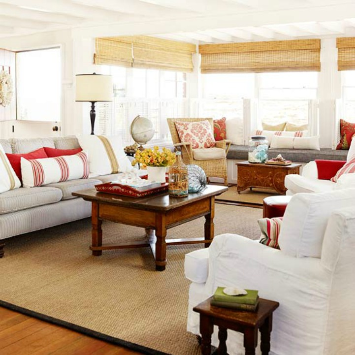 Coastal cottage beach house living room with white slipcover sofa