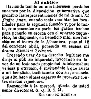 Comunicado de Rosario de Acuña tras la prohibición