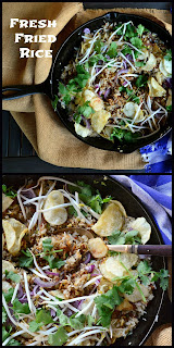 Fresh Fried Rice with jerky and potato chips is a new take on an old recipe. The best part is this is made with fresh rice and you don't need to make it ahead. Really, really good! www.thisishowicook #Chineserecipes #Fried Rice