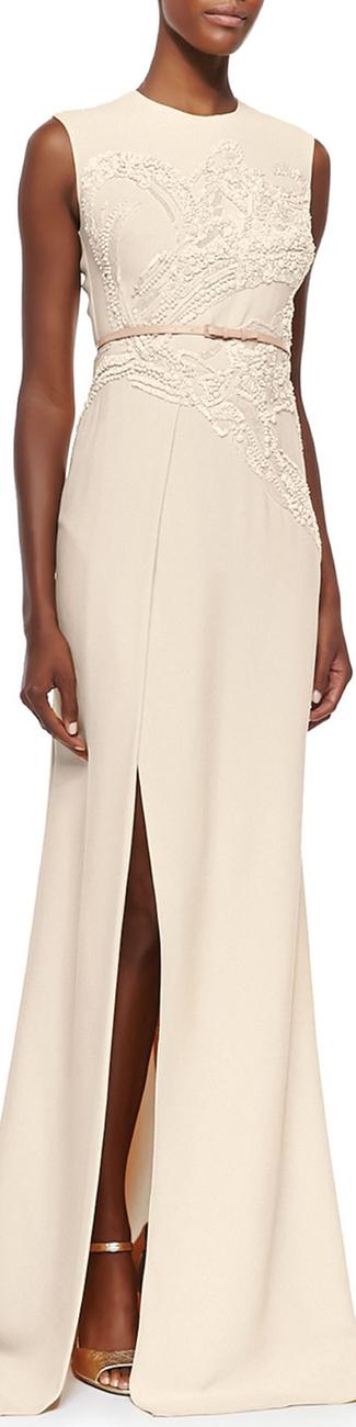 Elie Saab Sequin-Embroidered High-Slit Gown
