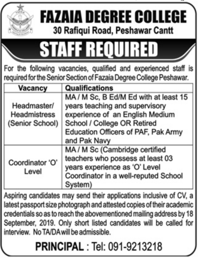 Fazaia Degree College Peshawar Latest Jobs 2019