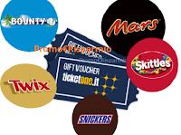 Logo ''Viva la musica'' e con Twix, Mars, Bounty e Snickers vinci 30 voucher TicketOne da 100€