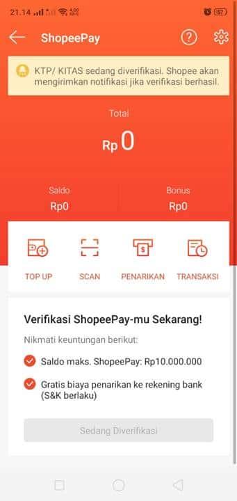 Verifikasi ShopeePay dalam 24 jam