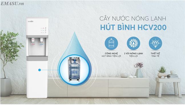 Cây nước nóng lạnh hút bình Karofi HCV200 công nghệ hút bình, sạch sẽ, kín đáo và tính thẩm mỹ cao