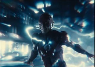 The Flash running with his arms behind him and a smile on his face.