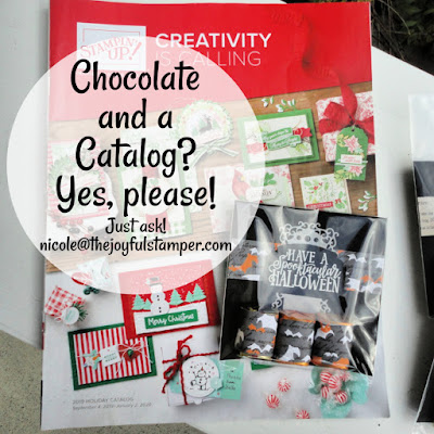 The Stampin' Up! Holiday catalog + chocolate = best combination ever!  Email Nicole Steele The Joyful Stamper to request a catalog.