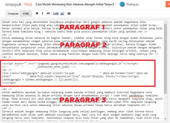 Tempakan kode iklan di html postingan