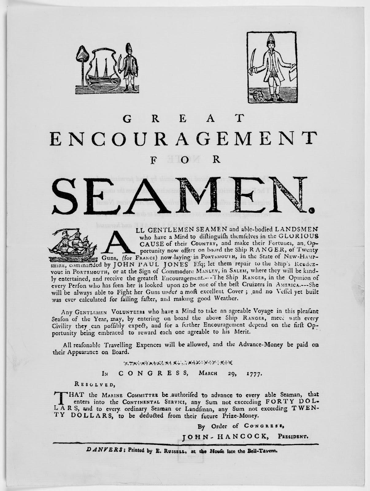 British Tars, 1740-1790: Great Encouragement for Seamen, 1777