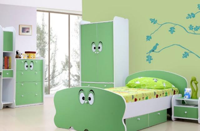 interior kamar tidur perempuan minimalis hijau
