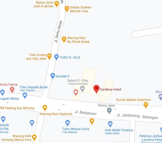 Map Letak Hotel Gardena Indramayu