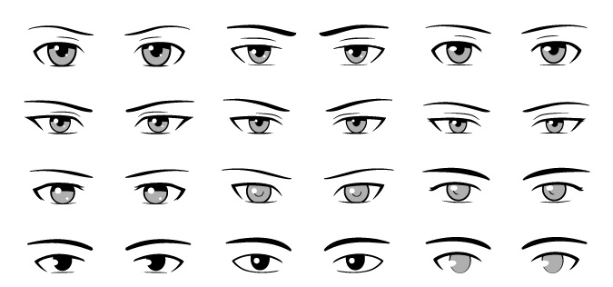 Mata pria anime digambar dengan gaya berbeda