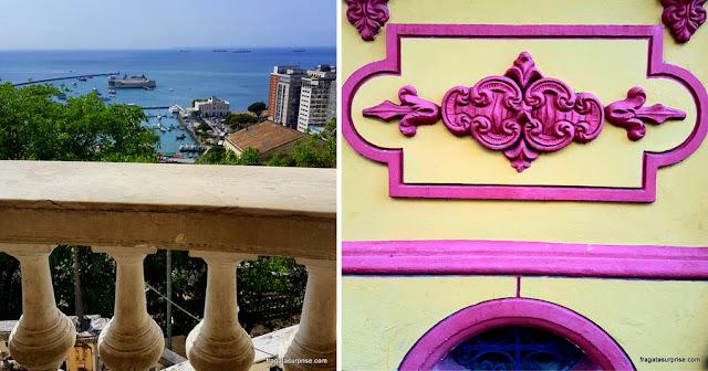 Vista da Bahia de Todos os Santos e detalhe de um casarão no Santo Antônio Além do Carmo
