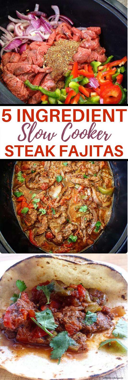5-Ingredient Slow Cooker/Instant Pot Steak Fajitas #dinner #slowcooker #steaks #meat #wraps