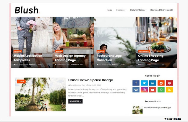 Blush Blogger Template, Top 10 Responsive Template, Blogger Template, Free Blogger Template 2020