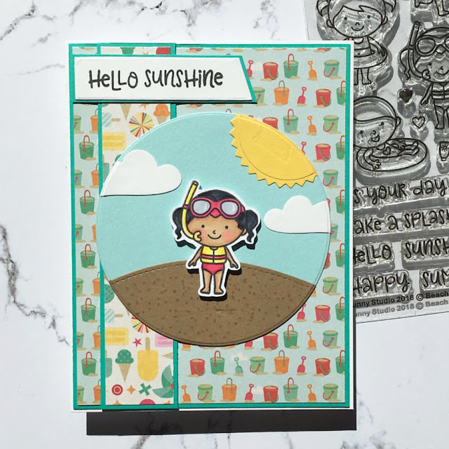 Sunny Studio Stamps: Beach Babies Customer Card Share by Kathy Straw