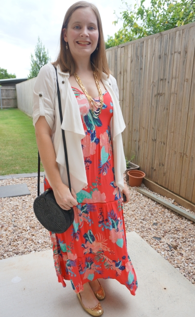 kmart tropical tiered coral floral maxi dress with waterfall jacket round rattan sling bag  date night outfit | awayfromblue