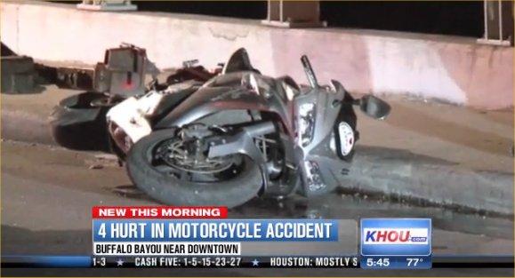 Motorcycle accident on Waugh bridge over Allen Parkway