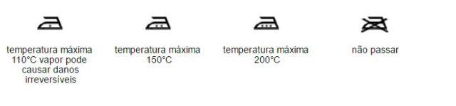 PASSAR O ferro simboliza a passadoria a ferro doméstico e o processo de prensagem, com ou sem vapor, a temperatura máxima é indicada por um, dois ou três pontos inseridos dentro do símbolo