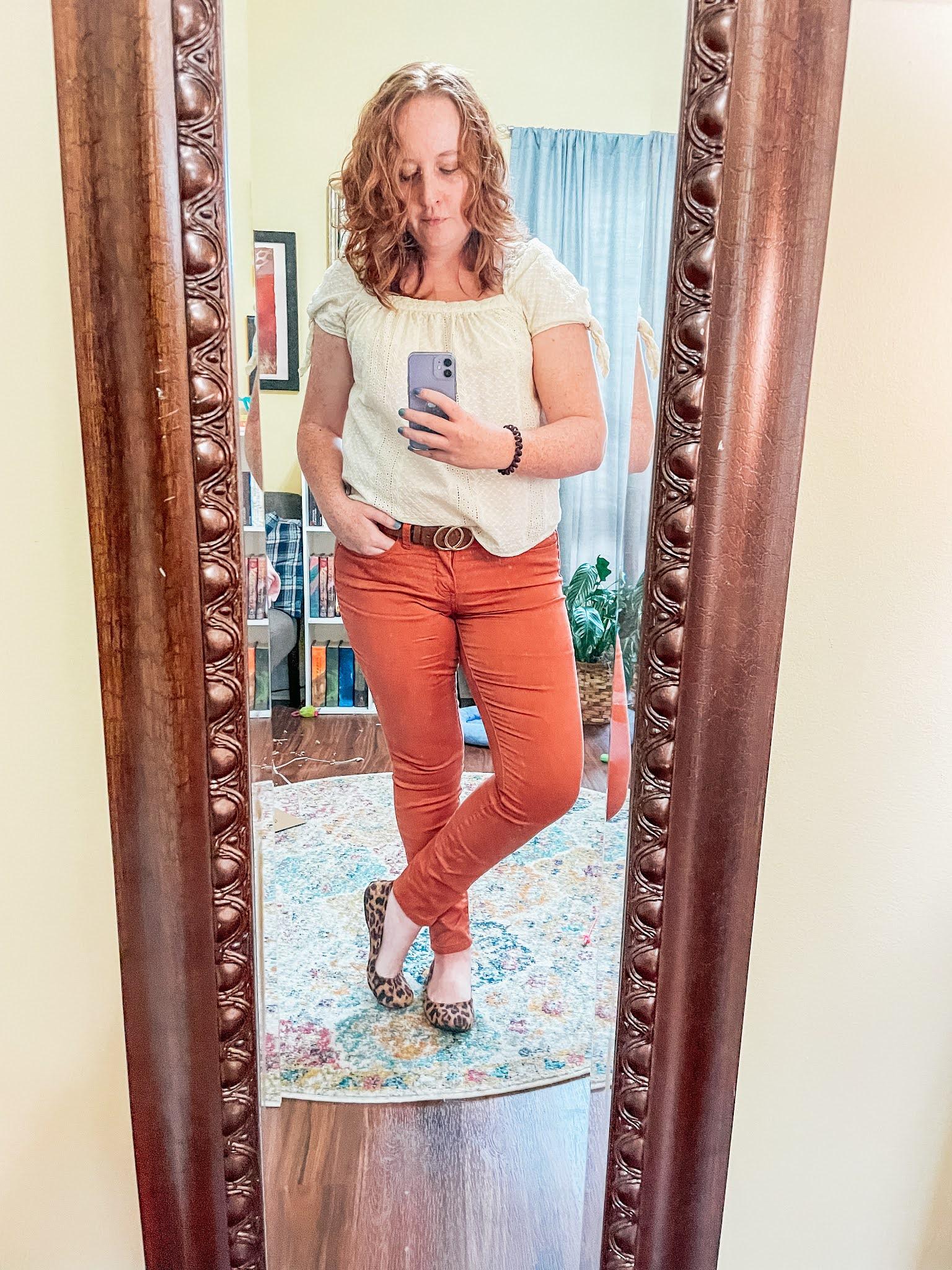 lace-blouse-orange-pants-leopard-flats
