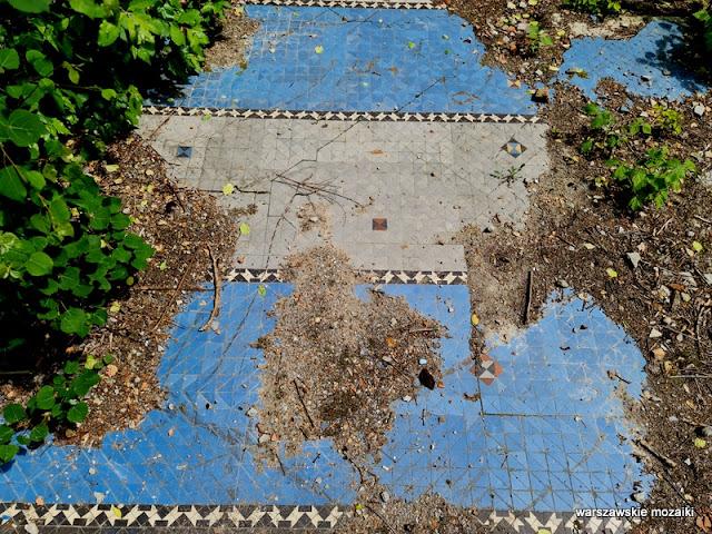 Warszawa Warsaw posadzka mozaika warszawskie mozaiki historia wyburzone detal Mokotów Mokotow Sielce