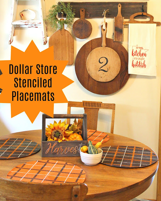 Stenciling Fall Colored Dollar General Placemats with Plaid Shirt #oldsignstencils #stencil #falldecor #placemats #dollargeneral