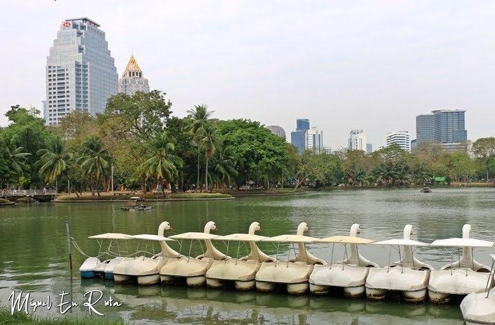 Barcas en el Parque Lumpini, Bangkok