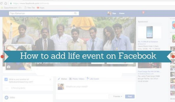 how to add life event on facebook page
