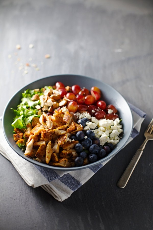 rainbow chicken salad with almond honey mustard dressing