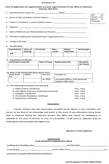 Application form for Jobs in Office of the Advocate General, J&K