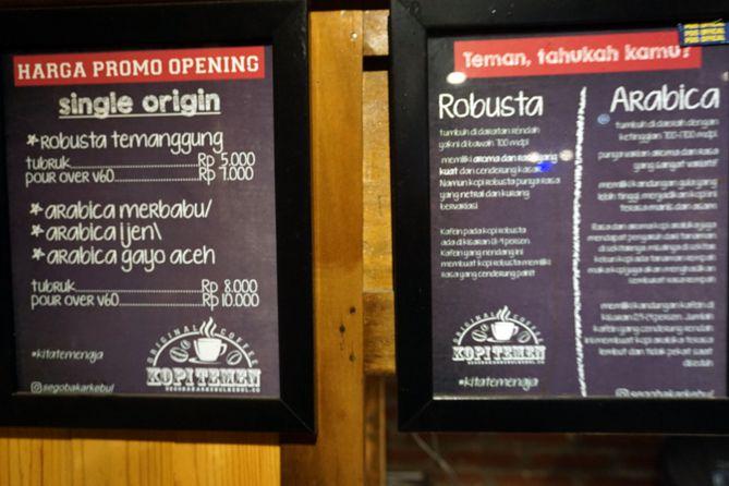 Daftar menu dan harga Kopi Temen Kopeng