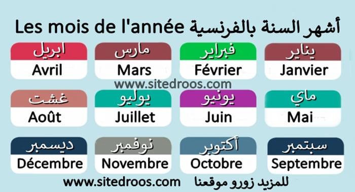 شهور السنة بالفرنسية مترجمة بالعربية