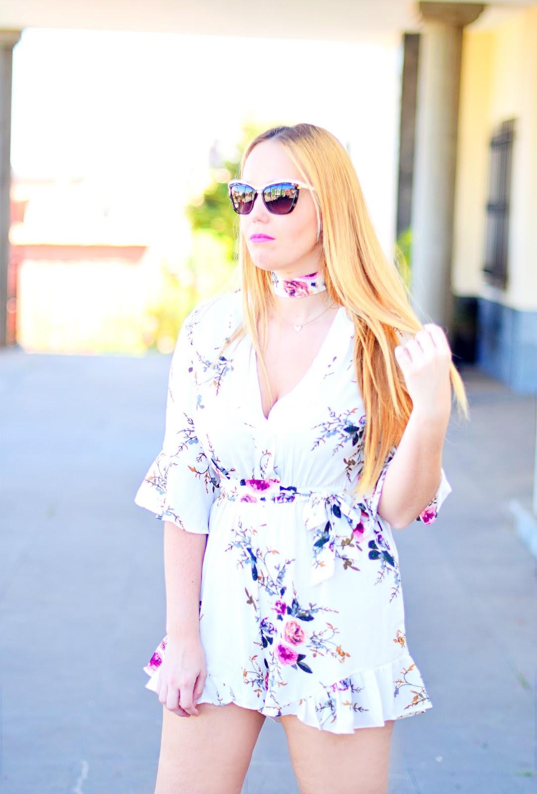 nery hdez, sammydress, opticalh, swarovski sunglasses, romper with choker, floral print