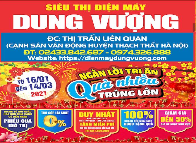 ĐIỆN MÁY DUNG VƯỢNG - Siêu thị Điện máy uy tín hàng đầu Việt Nam