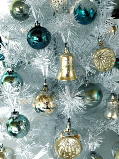 Vintage blue and silver Christmas tree decorations