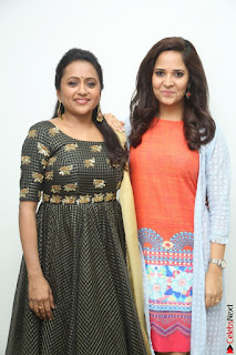 Actress Suma in Black Salwar Suit and Anusuya in orange Dress at winner movie press meet part 1 February 2017 (51).JPG