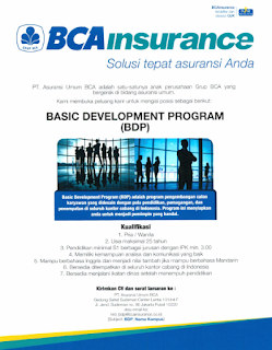 Lowongan Kerja Terbaru D3 PT Asuransi Umum BCA Januari 2020