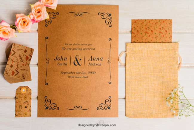 Floral cardboard wedding set download