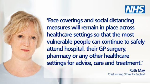 Calmly smiling lady from NHS England with text quote about facemasks