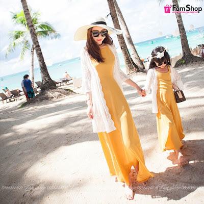 Váy maxi mẹ và bé gái M498