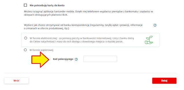 Gdzie wpisać kod polecający we wniosku o konto w Santander Banku