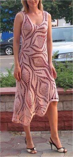 Patrón #766: Vestido a Crochet