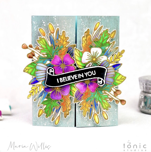Maria Willis, Cardbomb, #tonicstudios, #tonicstudiosusa, #cards, #cardmaking, #handmade, #handmadecards, #create, #creative, #art, #diy, #craft, #tonicstudiosgardenparty, #botanicalburst, #nuvo, #nuvoaquaflowpens, #watercolor, #flowers, #gatefold,