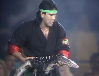 WCW / NWA Great American Bash 1989 - Ricky Steamboat carried a dragon to the ring minutes after Jim Ross called pet gimmicks stupid
