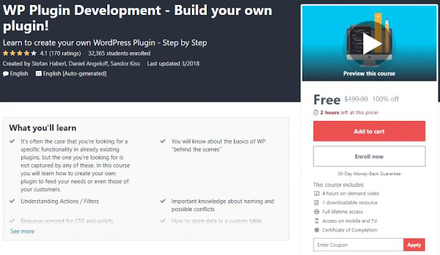 [100% Off] WP Plugin Development - Build your own plugin!| Worth 199,99$
